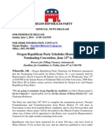 ORP News Release - ORP Announces Nominating Convention for HD 19 Replacement - 06.01.2014