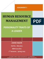 Semester 2 Assgn. 2 Personality Traits of a Leader
