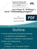 Nationalizing Foreigners by Ahmed LAHMAR