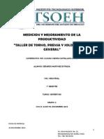 Productividad Huamana en Taller Mecanico de Torno Prensa y Soldadura