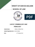 UNIVERSIYT of DAR ES SALAAM Anthony Peter Criminology and Penology