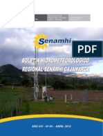 Boletín Meteorologia Regional Cajamarca Abril 2013