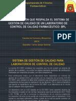 Sistema de Gestión de Calidad de Un Laboratorio de Control de Calidad Farmacéutico