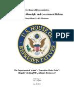 Oversight US House Report Operation Choke Point