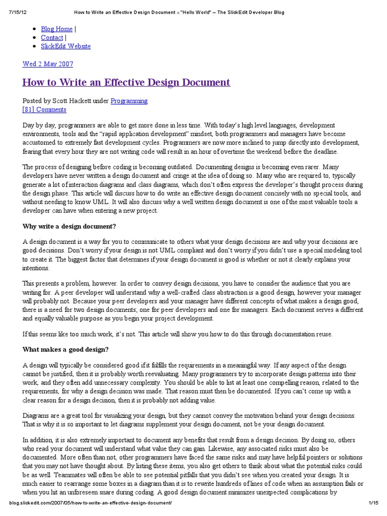 How To Write An Effective Design Document Unified Modeling - How to write a design document