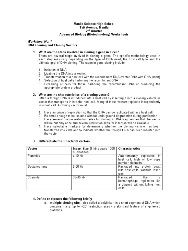 worksheet Dna Technology Worksheet worksheets with answers molecular cloning plasmid