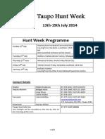 Taupo Hunt Week 2014 - Programme