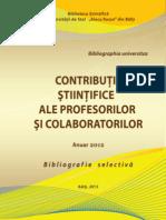 Contributii Stiintifice ale profesorilor si colaboratorilor