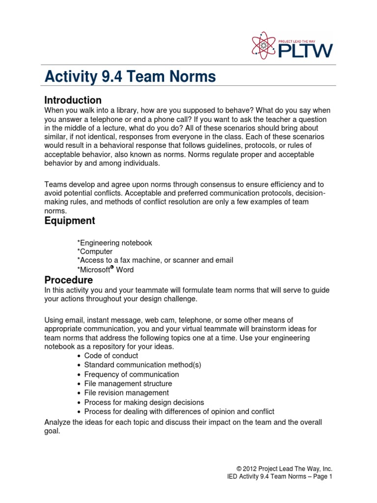 9 4 a teamnorms norm social consensus decision making rh pt scribd com Piling On Engineering Best Robotics Engineering Notebook Examples