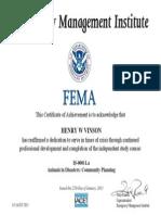 FEMA/Emergency Management Institute certifies Henry Vinson in Animals in Disasters