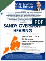 Comptroller Stringer Manhattan Sandy Oversight Hearing June 17, 2014
