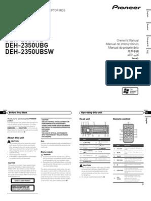 Operating Manual Deh 2350ub Eng Esp Por Compact Disc