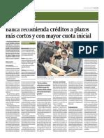 Banca Recomienda Créditos a Plazos Más Cortos y Con Mayor Cuota Inicial_Gestión 02-06-2014