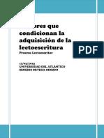 Factores Que Condiciona La Adquisición de La Lectoescritura Trabajo Para Atala