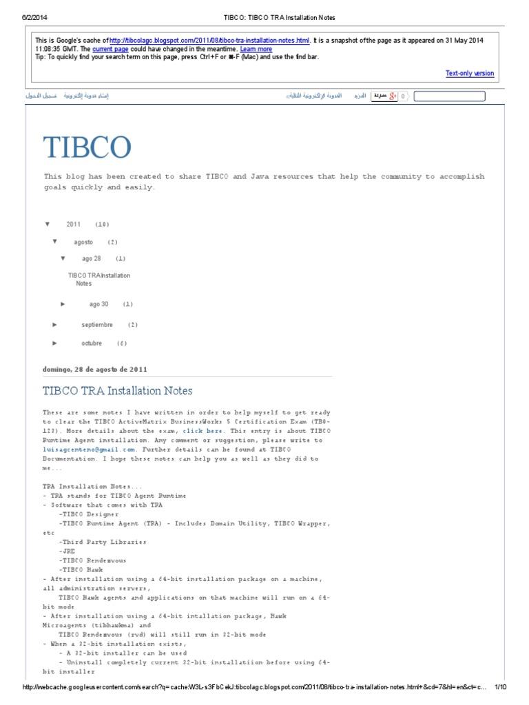 Tibco Tibco Tra Installation Notes Installation Computer