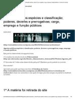 Agentes Públicos_espécies e Classificação; Poderes, Deveres e Prerrogativas; Cargo, Emprego e Função Públicos _ Central de Favoritos
