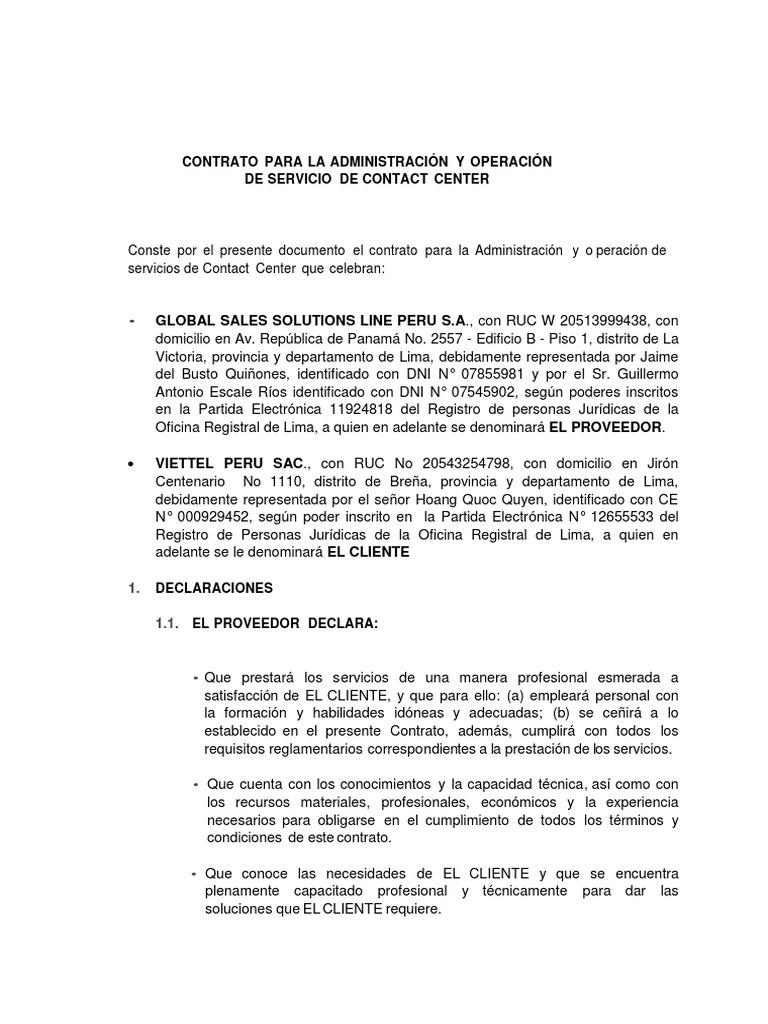 Contrato Para La Administración y Operación de Servicio de Contact