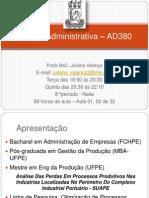 Análise Adm - 60h - Ad380 - Aula 01 e 02