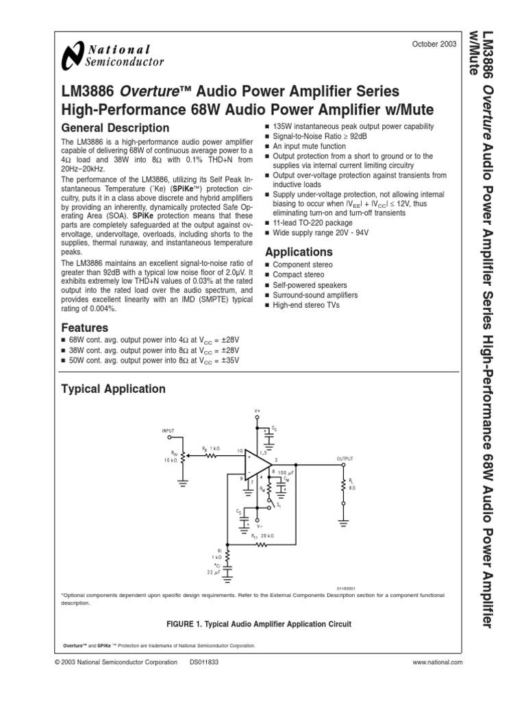 Datasheet Lm3886tf Amplifier Capacitor 2n3055 50w Audio