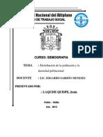 Distribucion de La Poblacion y Densidad Poblacional