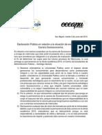 Declaración Pública CEEAPU Santiago UV, En Relación a Situación de Evaluación Carrera de Socioeconomía.