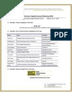 China Venture Capital Annual Ranking 2004-List