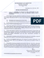 Increase in Pension 2007 Government of Pakistan