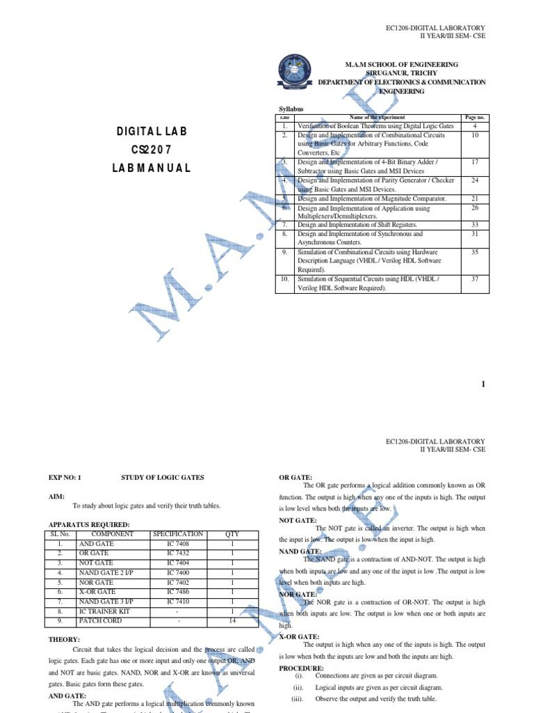 Dpsd Lab Manual Hardware Description Language Logic Gate Diagram In Addition Full Adder On Nand Inverter Circuit