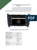 Mercedes-Benz CLK W209 DVD de Voiture Avec GPS TV Bluetooth