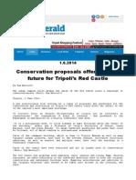 Conservation proposals offer brighter future for Tripoli's Red Castle - Lybia Herald del 1 giugno 2014