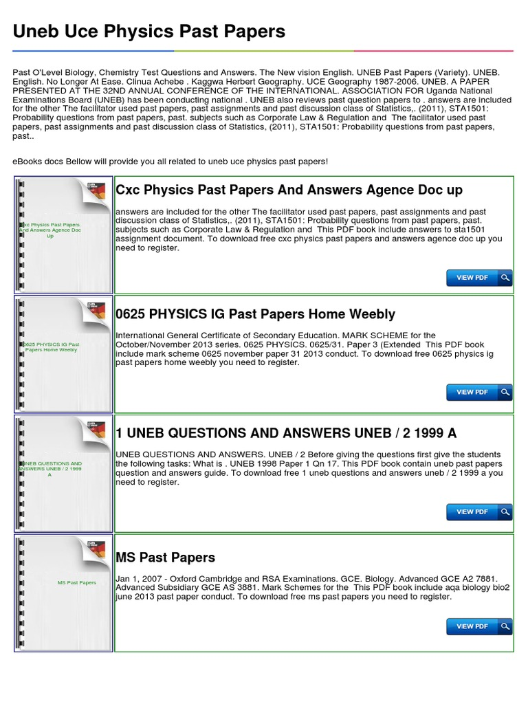 uneb uce physics past papers student assessment and evaluation rh es scribd com uneb marking guide 2017 Uneb 2012