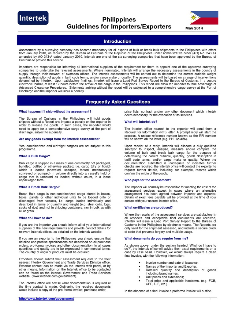 Philippines Importer Exporter Guidelines | Cargo | Customs