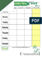 Weekly Menu Plan Printable- June Theme