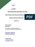 BIBM701 Module Handbook Semester 1 2013-14