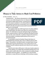 Obama to Take Action to Slash Coal Pollution - NYTimes