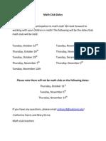 math club dates