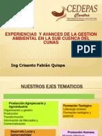 2 Ing Crisanto Fabián Experiencias en La Sub Cuenca Cunas