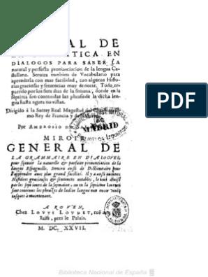 1627 Espejo General De La Gramatica En Dialogos Ambrosio