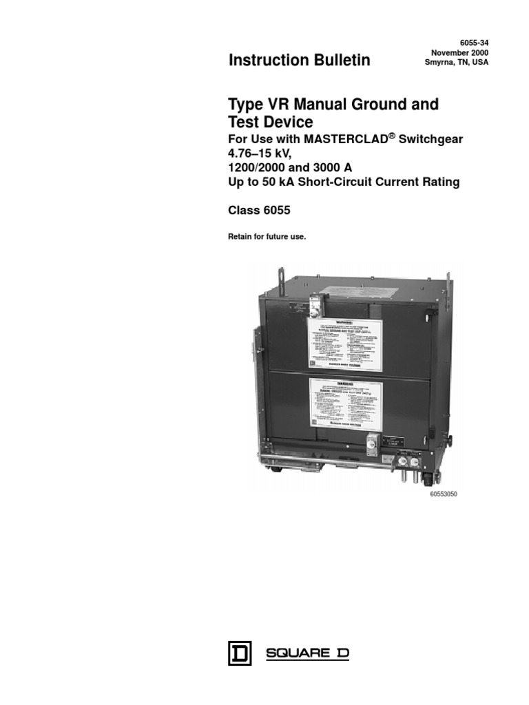 Circuit Breaker - Ground & Test Device Type VR Manual Ground and Test  Device | Electromagnetic Interference | Voltage