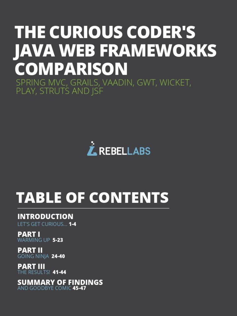 The Curious Coders Java Web Frameworks Comparison Spring Mvc Grails ...