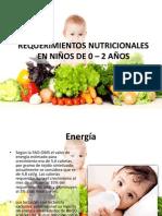 Requerimientos Nutricionales en Niños de 0 – 2