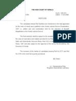 Result of Munsiff Magistrate Exam