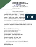 P.V de La Reunion d'installation de la Section de l'UDACOTEN CUN 18.11.09