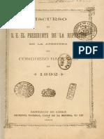 Discurso de S.E. El Presidente de La República en La Apertura Del Congreso Nacional 18921896