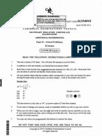 Csec June 2012 Add Maths Mcq paper 1