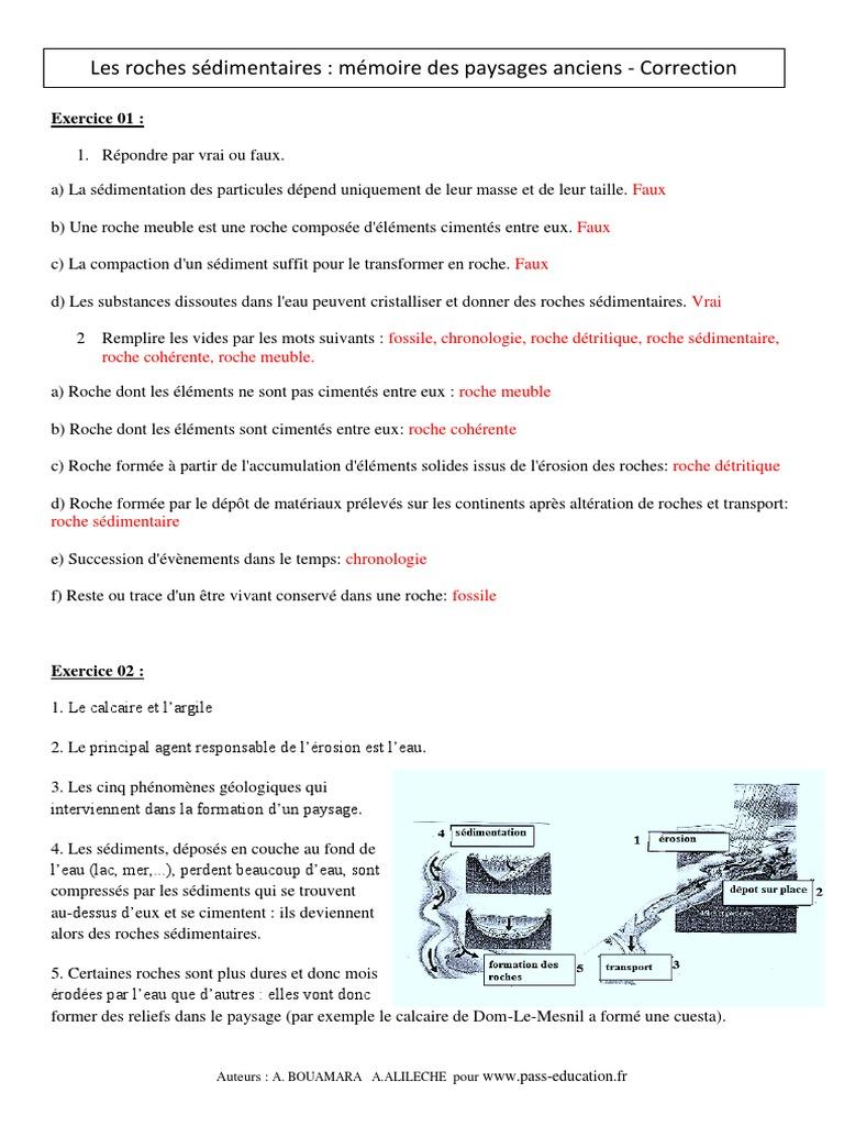Correction Roches Sedimentaires Memoire Des Paysages Anciens 5eme Exercices Corriges Remediation Geologie Svt