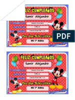 Tarjeta Mickey Mouse