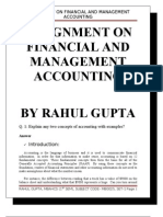 Assignment on Financial and Management Accounting
