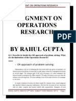 Assignment on Operations Research