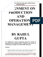 ASssignment on Production and OPerations Management
